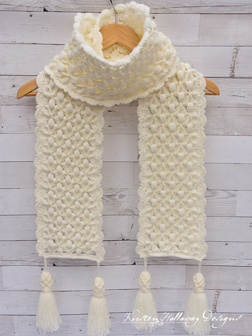 """Snowberries"", A Luxurious Winter Scarf Crochet Pattern, Holiday Stashdown 2018"