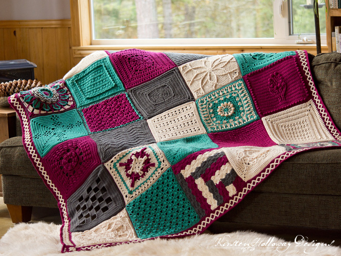 Crochet a beautiful heirloom quality afghan with this free pattern. Featuring 26 squares from 15 different crochet designers.