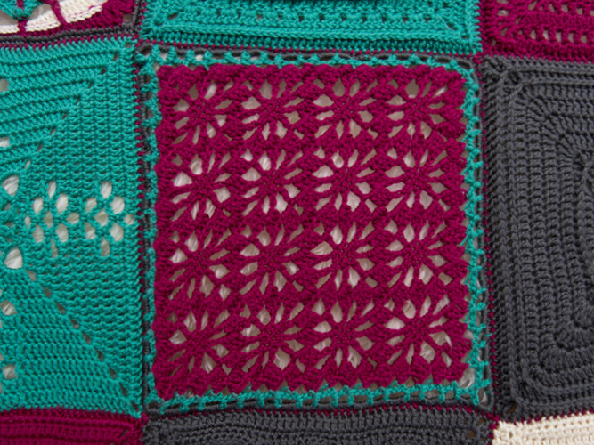 Lacy Berries Crochet Square -Designed by Lorraine Hervert An intermediate stitch that adds elegance to any project and works up quickly