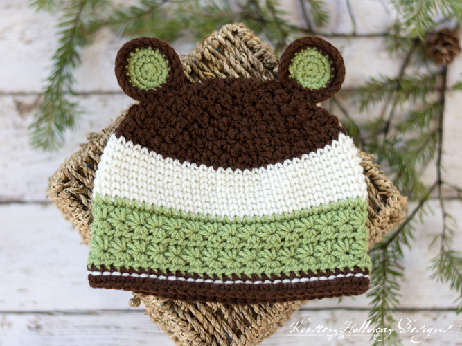 Grizzly Mountain Crochet Bear Hat Pattern for Baby, Toddler, Kids and Adults