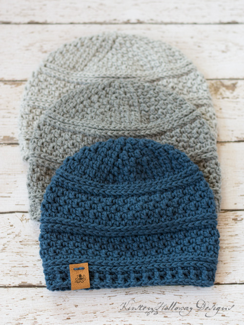 Crochet a warm winter hat with this free beanie pattern. Comes in 4 easy to make sizes., for men, for women, and kids!