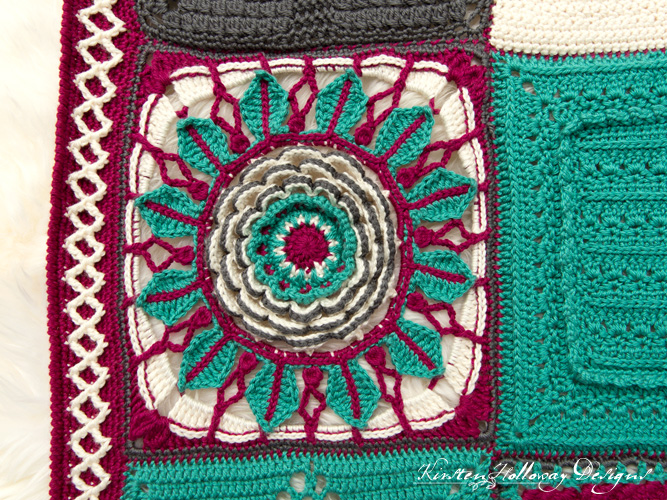 Crochet a unique, richly textured flower afghan square with this free pattern.