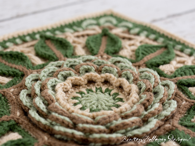 "Detail of the textures in the Desert Rose 12"" afghan block crochet pattern."