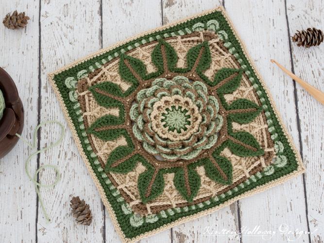 """Desert Rose Afghan block 12"""" Square crochet pattern"""