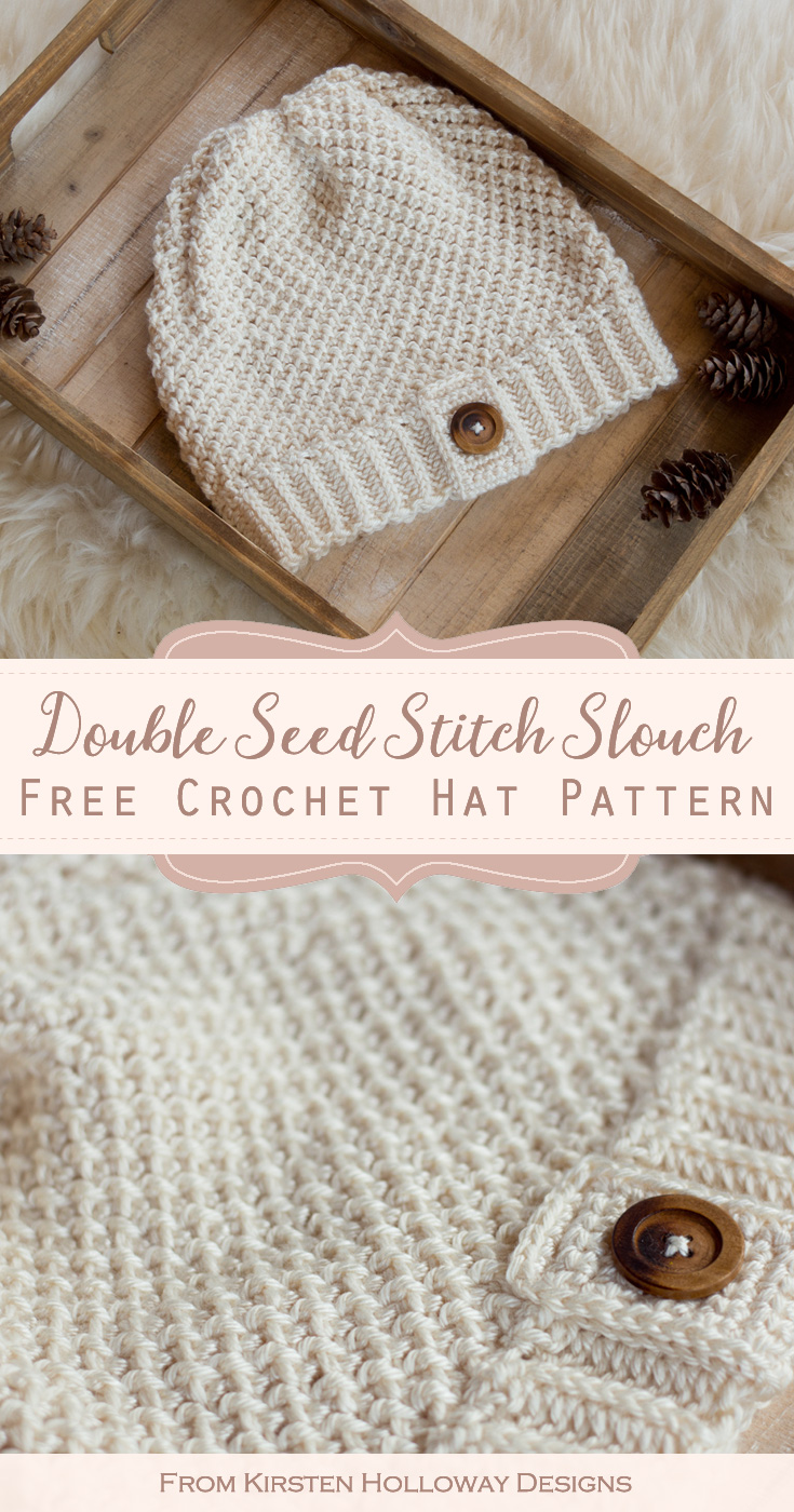 The Double Seed Stitch Crochet Slouch Hat is an easy, beginner-friendly pattern that doesn't take a lot of thought, and only uses 3 stitches!