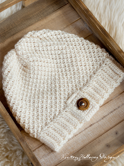 The easy, double seed stitch crochet slouch hat pattern comes in 3 sizes. Make all the women and girls in your family winter hats this year!