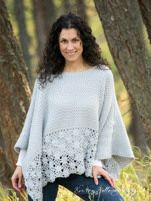 Crochet a beautiful lace poncho for women with this free pattern. Includes plus sizes!
