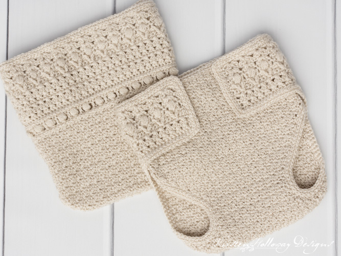 Crochet diaper cover for newborns and 0-3 month old babies, with tabs