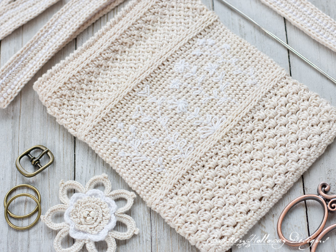 Supplies needed for making a crochet phone purse.