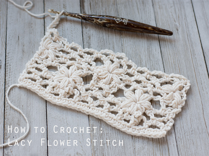 How to crochet a flower lace stitch. Picture tutorial for beginners.