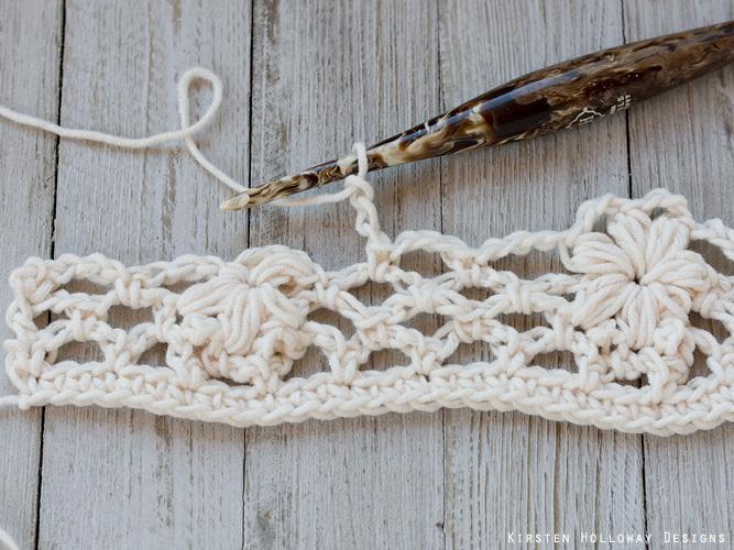 Crochet flower tutorial step 19 - chains