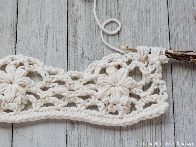 Crochet flower tutorial step 22 - Crocheting a half-flower.