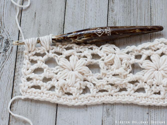 Crochet flower tutorial step 26 - ending the row.
