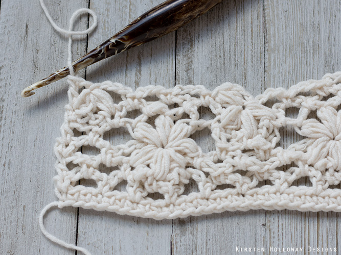 Crochet flower tutorial step 26 - ending the row - part 2.