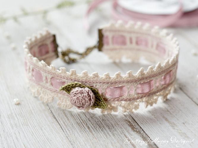 Crochet vintage style bridal choker with rosette.