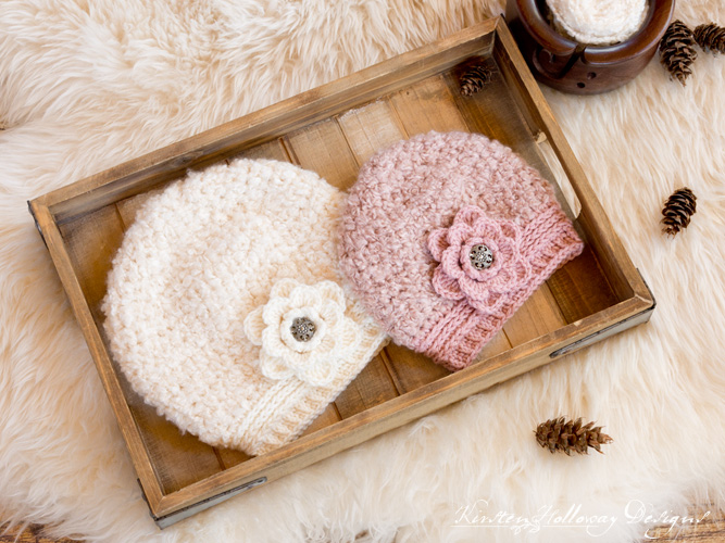 Easy chunky slouch hat with flower. comes in 3 sizes for women, kids and toddlers/preschoolers.