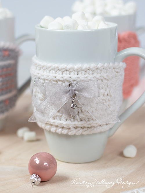 A cute Victorian-style, corset-tie mug cozy pattern.