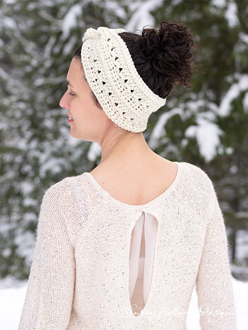 This headband is wide enough to keep your ears warm while it holds your hair up off your face and neck.