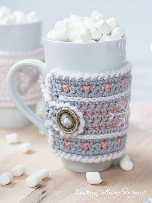 This picture shows the button closure on the crochet mug cozy pattern. It also shows the crab stitch edging off nicely.