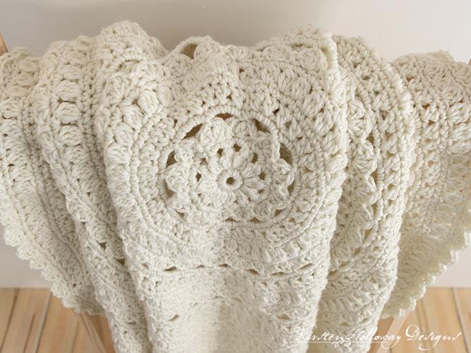 Close-up detail of the Secret Garden round throw blanket pattern.