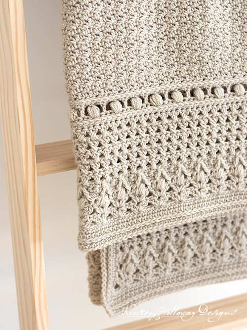 "Close-up of the free ""Modern Classic"" baby blanket crochet pattern"