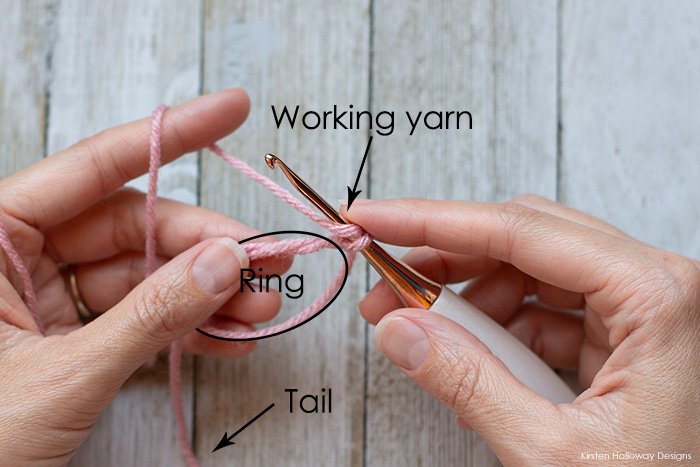 You should now have a loop that you can start working your stitches into. I chain 1 to begin, then work around the ring.
