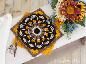 """A free Sunflower crochet square pattern. Join these 12"""" squares to make an afghan."""
