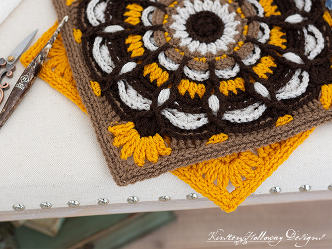 Stitch detail of the 12 inch sunflower square edges.