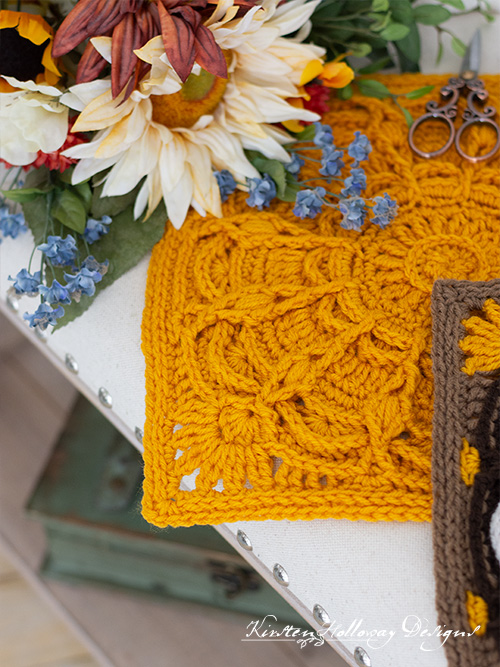 The Autumn Radiance square done in a solid gold colored yarn.